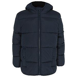 Navy Hooded Padded Reflective Coat