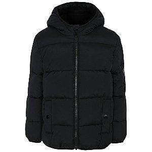 Black Hooded Padded Reflective Coat