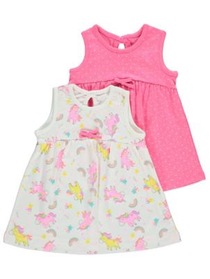 Pink Unicorn Print Sleeveless Dresses 2 Pack