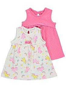 0af2eb28b23 Pink Unicorn Print Sleeveless Dresses 2 Pack