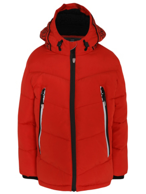 Red Padded Shower Resistant Coat