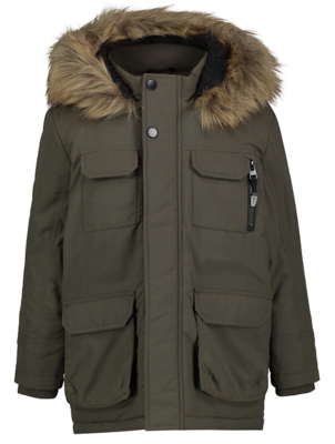 Khaki Faux Fur Hooded Shower Resistant Padded Parka