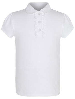 Girls White Ruffle Front School Polo Shirt