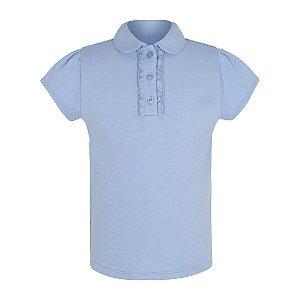 Girls Light Blue Ruffle Front School Polo