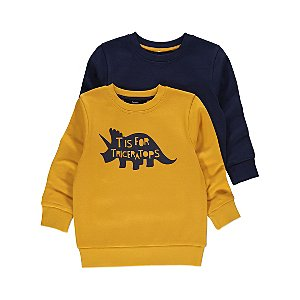 Yellow Triceratops Crew Neck Sweaters 2 Pack