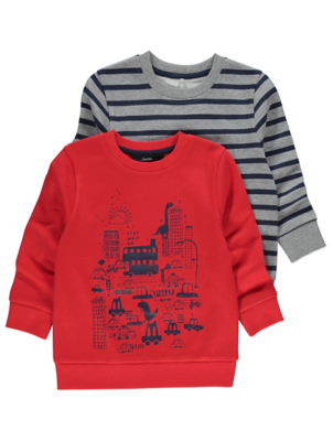 Red Dinosaur Print Crew Neck Sweaters 2 Pack