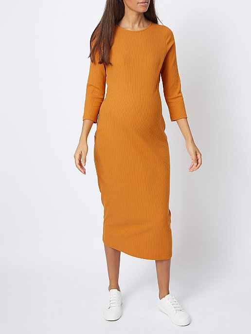 ea8ec7cdf637d Maternity Mustard Ribbed Bodycon Midi Dress | Women | George