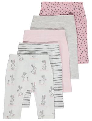 Pastel Bunny Leggings 5 Pack