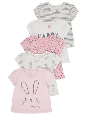 Assorted Short Sleeve Bow Detail Tops 5 Pack