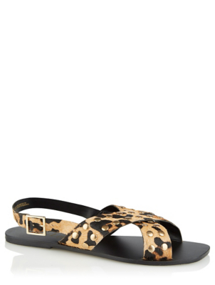 Leopard Print Leather Studded Crossover Sandals