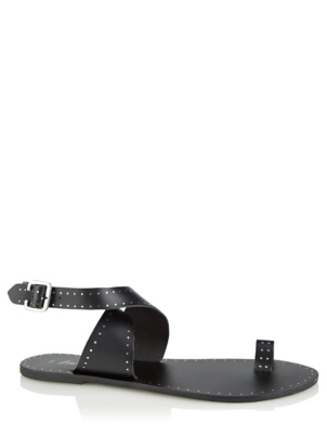Black Leather Toe Loop Crossover Sandals