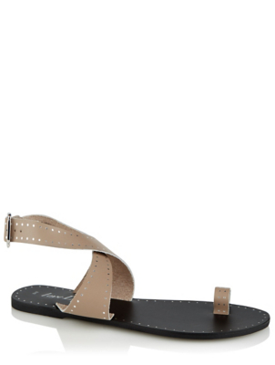 Beige Leather Toe Loop Crossover Sandals