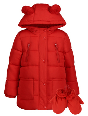 Red Shower Resistant Coat with Mittens