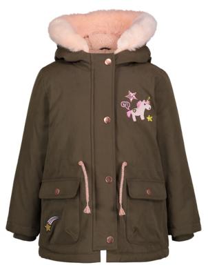 Khaki Shower Resistant Hooded Coat