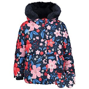Navy Floral Shower Resistant Padded Coat with Mittens