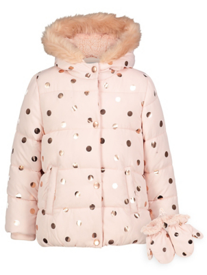 Pink Polka Dot Shower Resistant Coat With Mittens