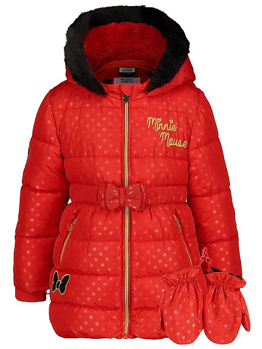 Disney Minnie Mouse Red Hooded Padded Coat