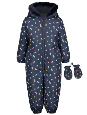 Navy Polka Dot Snowsuit and Mittens