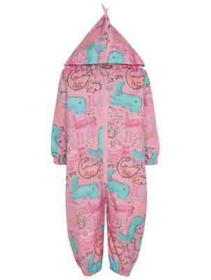 Pink Dinosaur Print Shower Resistant Puddlesuit
