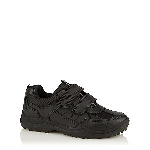 Boys Black 2 Strap Reflective Strip School Shoes