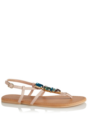 Beige Leather Jewelled Toe Post Sandals
