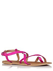 a2e9c1e0 Neon Pink Leather Short Faux Fur Strappy Sandals