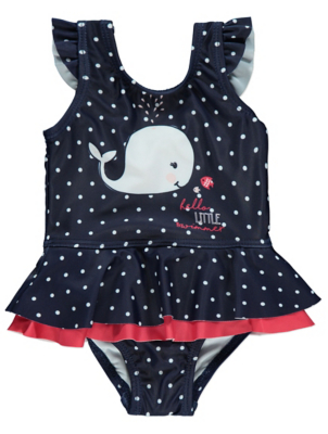 Navy Polka Dot Frill Whale Swimsuit