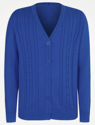 Girls Cobalt V-Neck Cable School Cardigan
