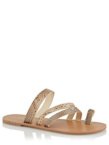 8491274be74cf8 Krush Faux Snakeskin Strappy Toe Ring Sandals