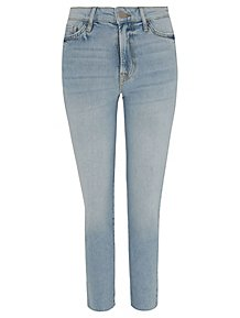 a01288bcedd Light Wash Denim Distressed Hem Straight Leg Jeans