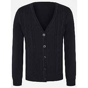 Girls Navy V-Neck Cable School Cardigan