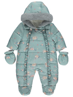 Green Bunny Shower Resistant Snowsuit with Mittens