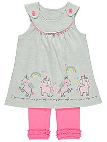 5cf6fa89a6 Unicorn Grey Tunic and Pink Leggings Outfit