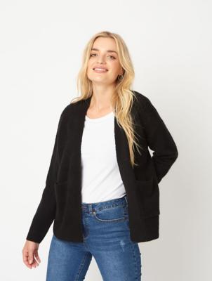 Black Open Front Short Cardigan