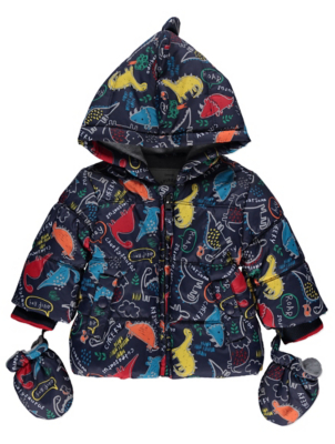 Navy Dinosaur Shower Resistant Hooded Coat