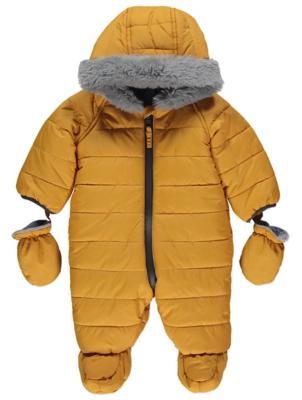 Yellow Hooded Faux Fur Trim Snowsuit
