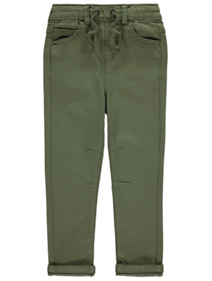 Khaki Elasticated Waistband Trousers