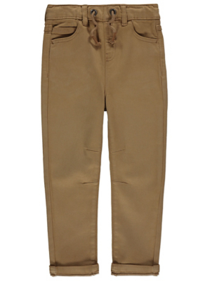 Tan Elasticated Waistband Trousers