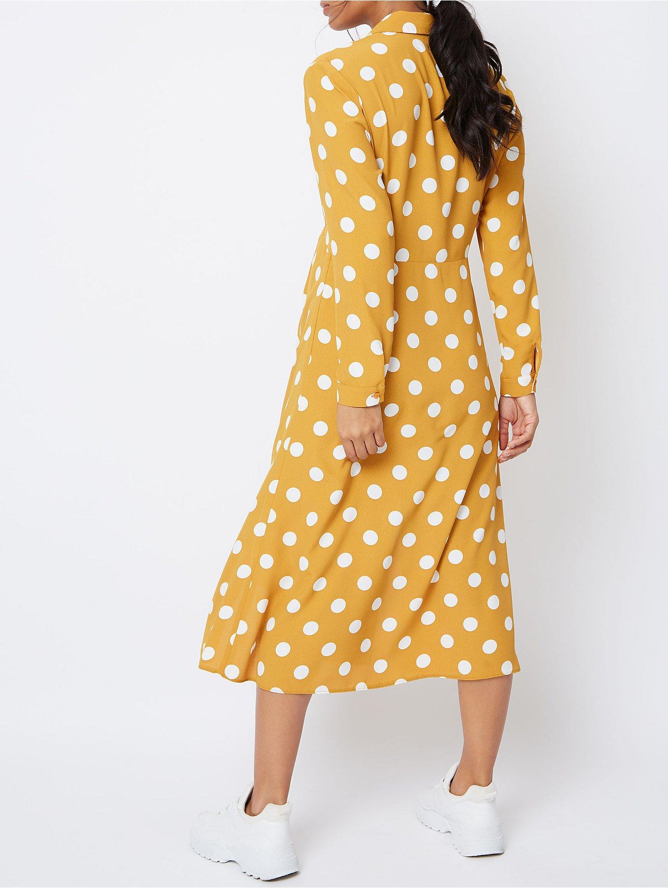 85b74e922a4ea Maternity Yellow Polka Dot Shirt Style Midi Dress | Women | George