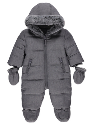 Grey Padded Shower Resistant Snowsuit with Mittens