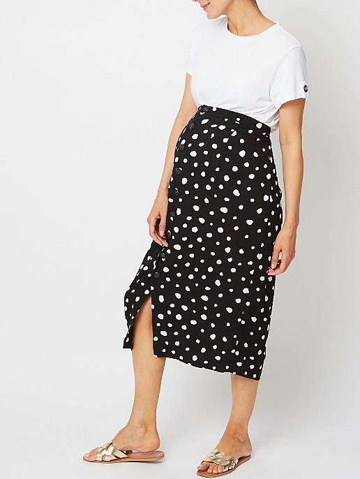 91dcd70b84 Maternity Black Spot Print Button Front Midi Skirt | Women | George