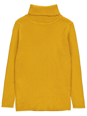 Mustard Yellow Ribbed Roll Neck Top