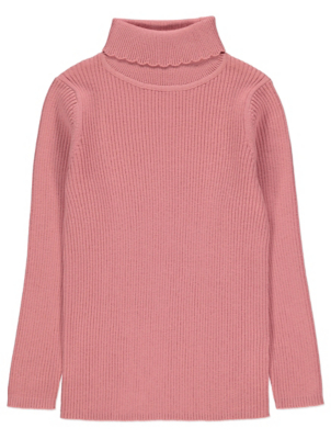 Pink Ribbed Roll Neck Long Sleeve Top
