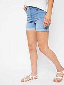 bfe68abd8c7 Light Blue Faded Wash Denim Shorts