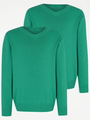 Jade Green V-Neck School Jumper 2 Pack