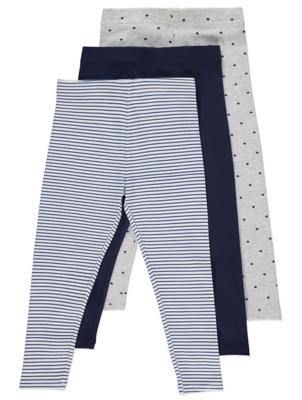 Navy Printed Leggings 3 Pack