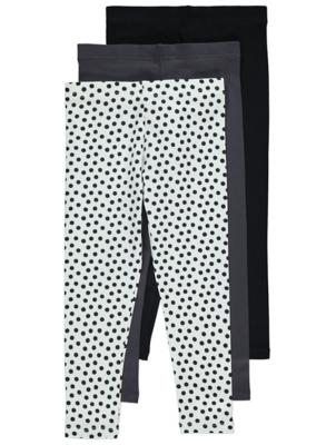Black Polka Dot Leggings 3 Pack