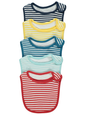 Colourful Stripy Bibs 5 Pack