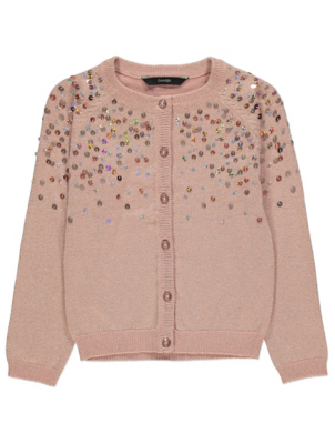 Pale Pink Holograpic Sequin Cardigan