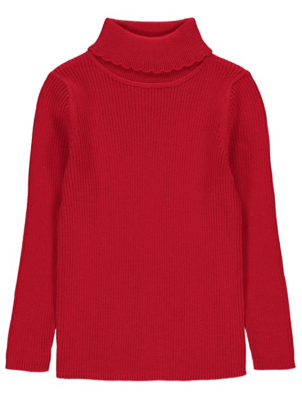 Red Ribbed Roll Neck Long Sleeve Top